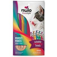 Nulo Freestyle Perfect Purees - Variety Pack - Cat Food, Pack of 10 - Premium Cat Treats, 0.50 oz. Pouches - Meal Topper for Felines - High Moisture Content and No Preservatives