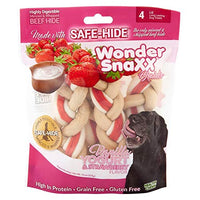Healthy Chews Wonder Snaxx Braids, 4 Large, Vanilla Yogurt and Strawberry Flavor Dog Treats Made with Whipped Rawhide