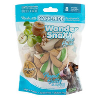 Healthy Chews Wonder SnaXX Braids Dog Treats, Peanut Butter & Apple Flavor, Made with Whipped Safe-Hide, Small/Medium, Pack of 8