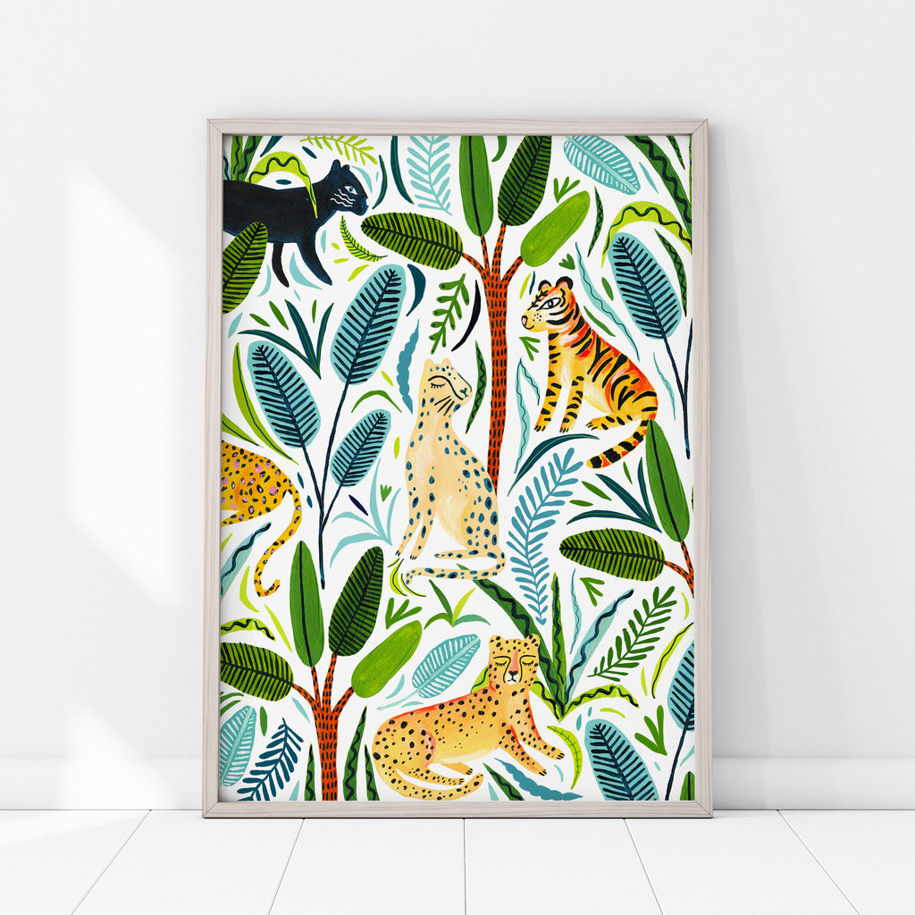 Jungle Cats on White - Amber Davenport