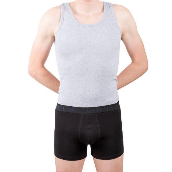 Singlet undershirt in grey melange on model from gntlmn essentials