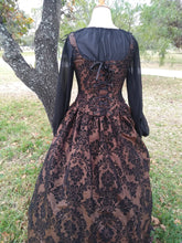 Load image into Gallery viewer, Renaissance Medieval Lady 3 Piece Set Costume Gown Brown and Black Damask