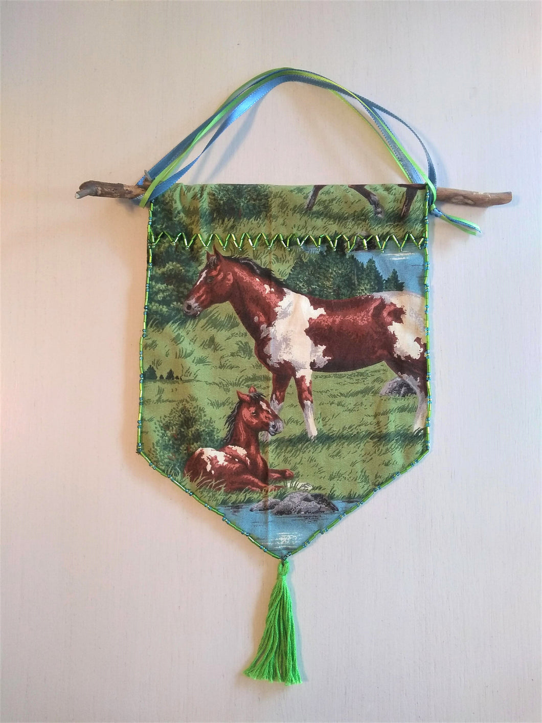 Beaded Horse Tapestry Wall Decoration