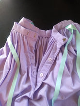 Load image into Gallery viewer, Purple Cotton Skirt with Turquoise Ribbons