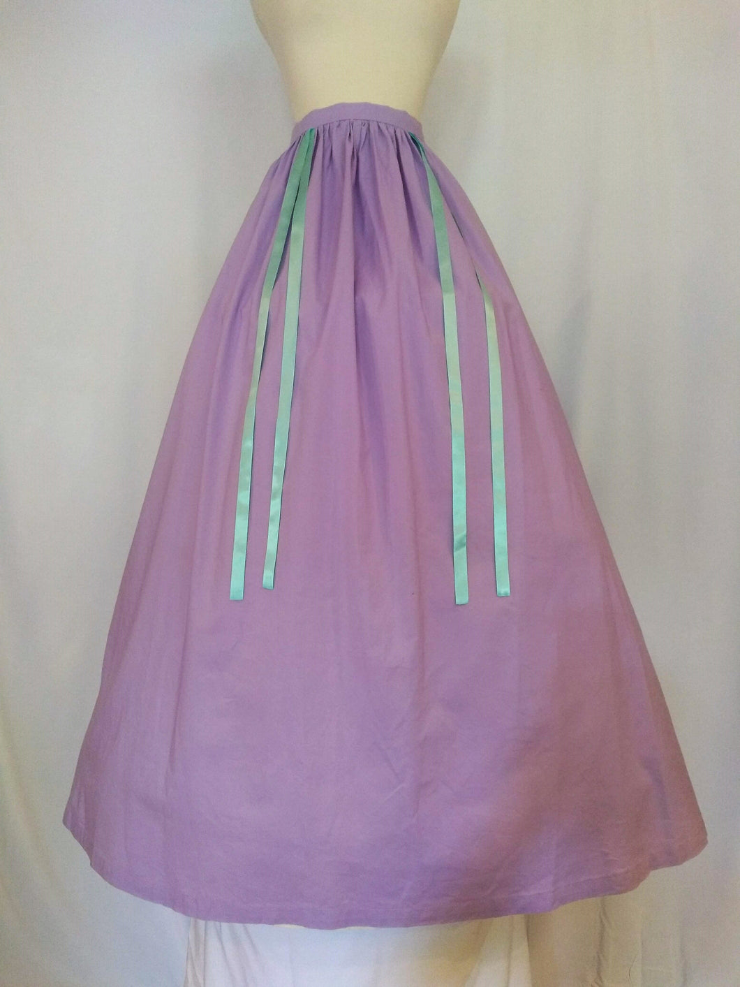 Purple Cotton Skirt with Turquoise Ribbons