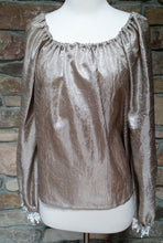 Load image into Gallery viewer, Ladies Blouse, Shimmery Crinkle Light-Weight Tan Blouse