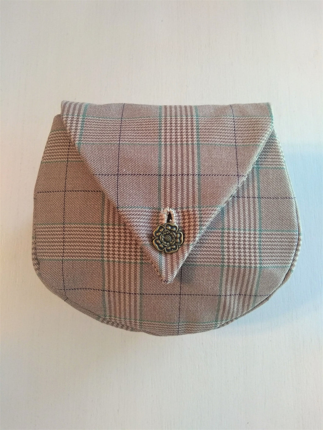 Renaissance Belt Pouch Victorian Hound's-Tooth Tan Plaid