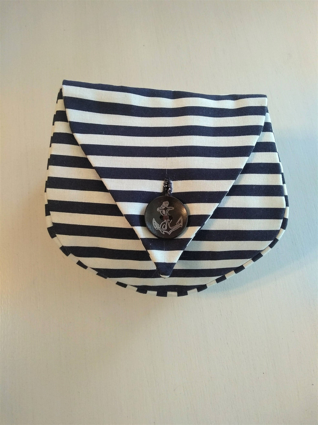 Sailor Belt Pouch Cotton Navy Blue Nautical Stripes