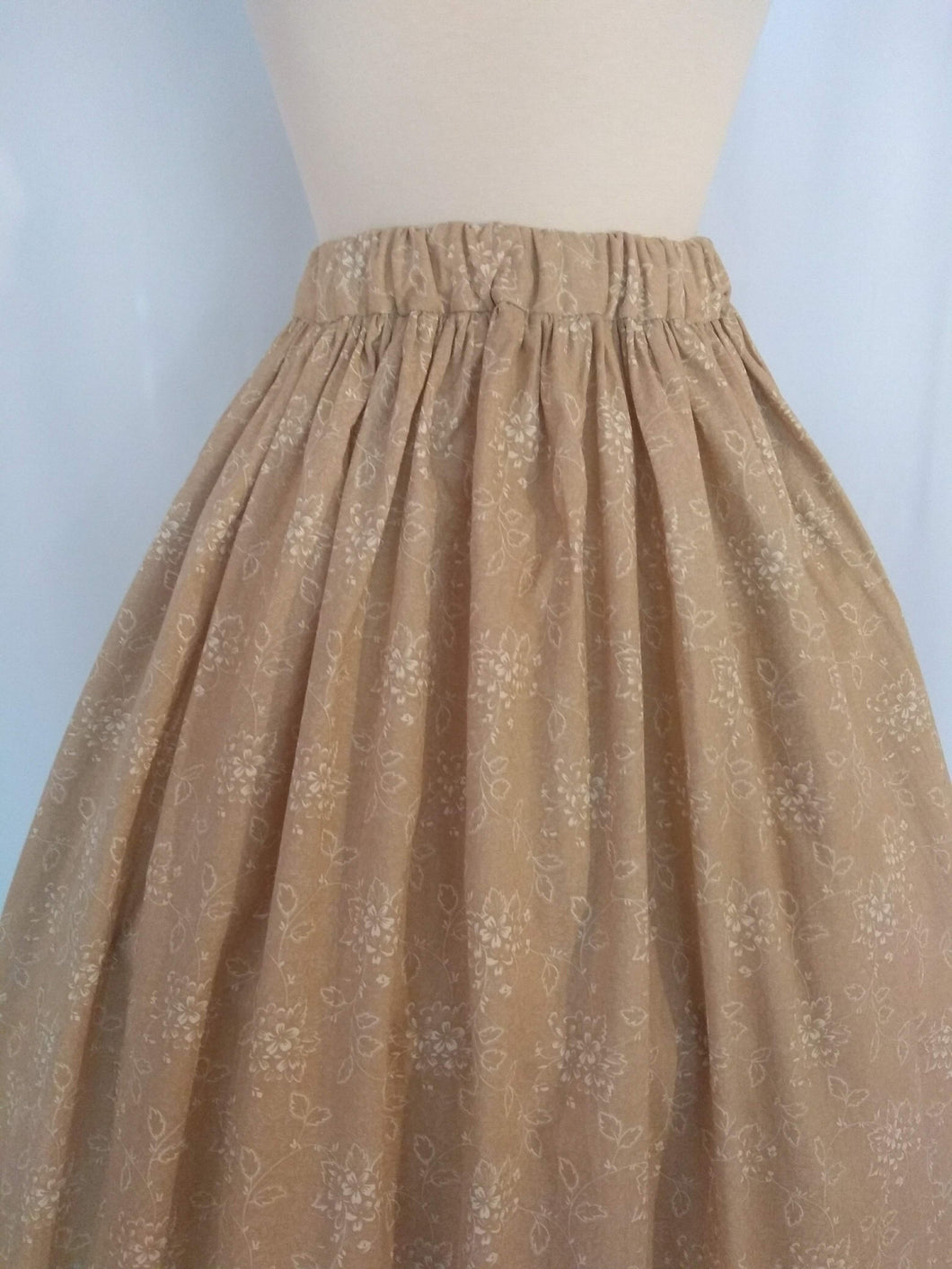 Tan and White Floral Cotton Skirt