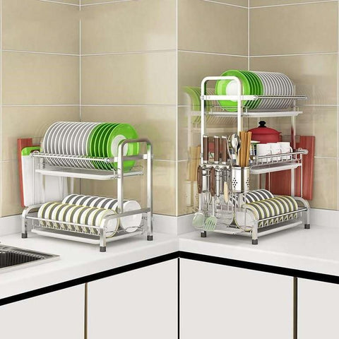 Stainless Steel 3 Layers Kitchen Dish Drying Rack