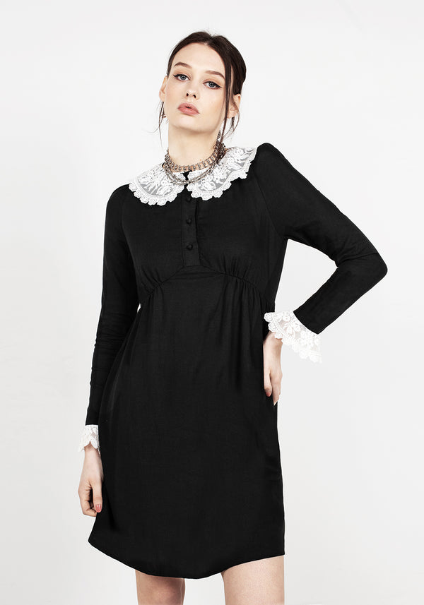 Gloaming Lace Collar Linen Dress