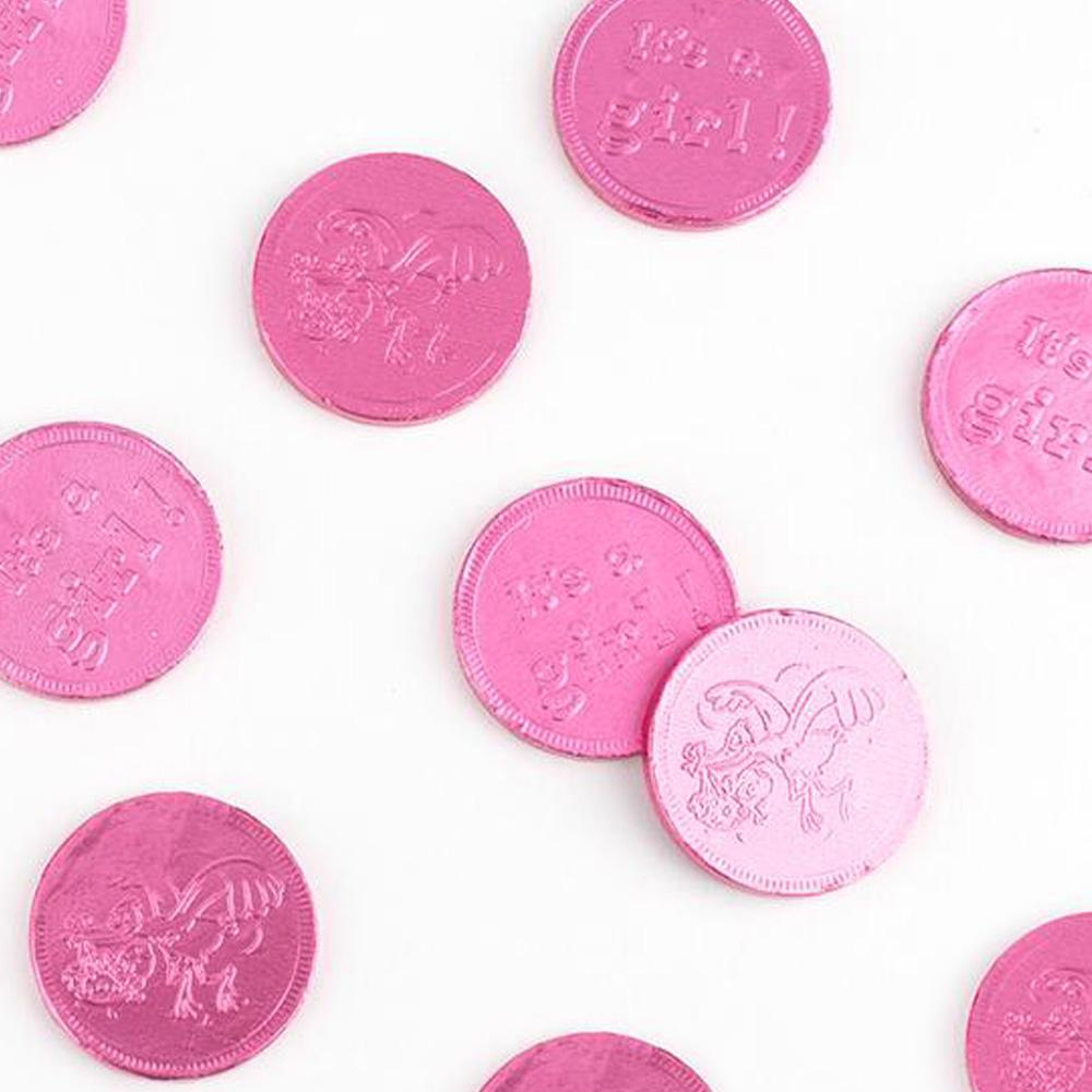 It's a Girl! Pink Chocolate Foil Wrapped Coins: 1lb