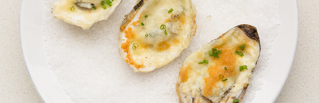 BBQ Oysters with Horseradish and Cheese