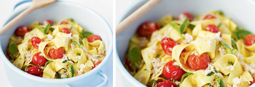 Crab Parpadelle with Tomato and Basil