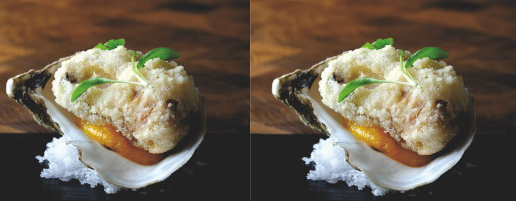 Tempura Oysters with Apricot Puree