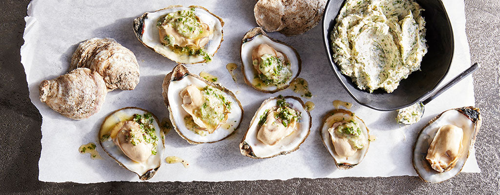 Oyster Roast with Garlic & Parsley Butter