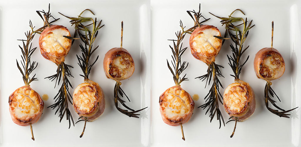 Scallop, rosemary and bacon kebabs