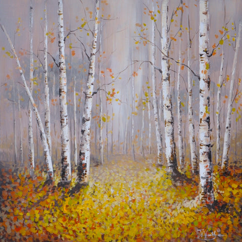 hand painted forest oil on canvas painting autumn colours melbourne