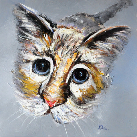 hand painted cat oil on canvas painting melbourne