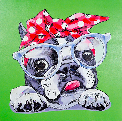 hand painted hipster dog gel on canvas painting melbourne