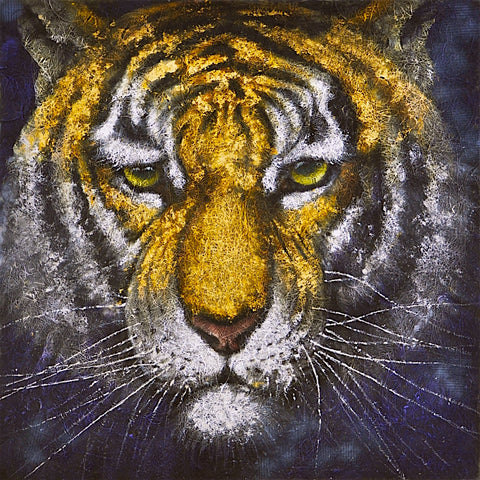 hand painted tiger on black mixed media painting melbourne