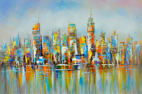 hand painted cityscape oil on canvas painting melbourne