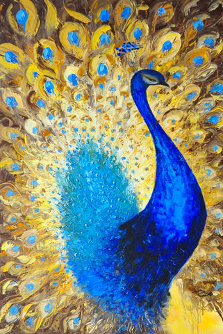 hand painted peacock oil on canvas painting melbourne