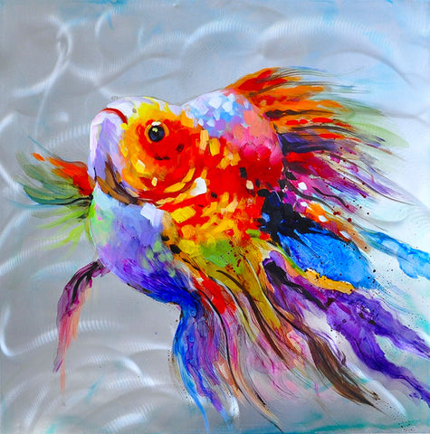 hand painted colourful goldfish oil on aluminium painting melbourne