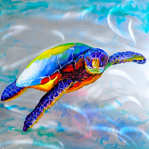 hand painted colourful turtle oil on aluminium painting melbourne
