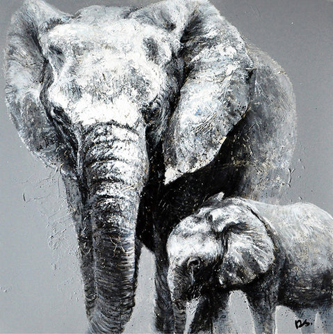 hand painted greyscale elephants oil on canvas painting melbourne