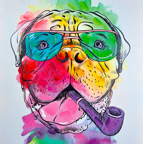 hand painted colourful bullmastiff gel on canvas painting melbourne