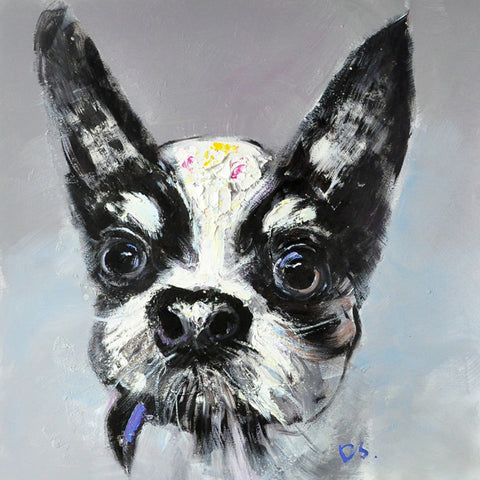 hand painted doggy oil on canvas painting melbourne