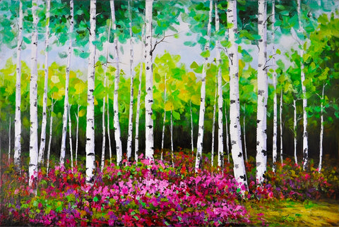 hand painted abstract colours birch forest oil on canvas painting melbourne