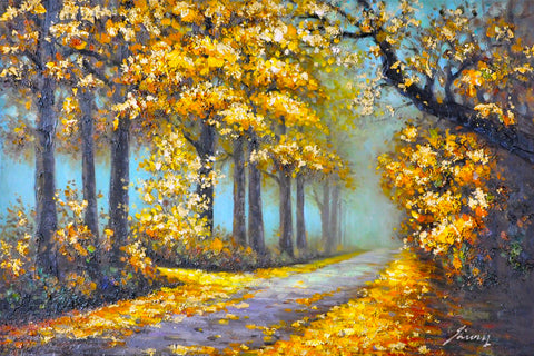 hand painted forest path oil on canvas painting melbourne
