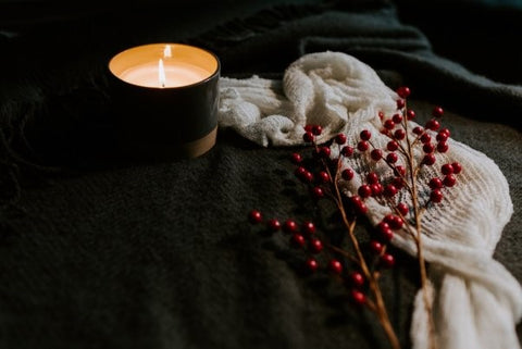 Hygge blanket and cosy candle