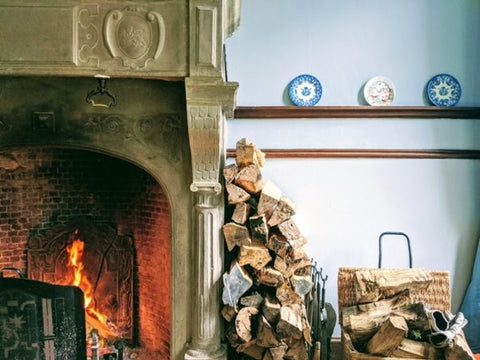 Hygge style living room fireplace