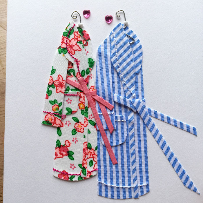 Anniversary Card - Dressing Gowns for him and her - close up