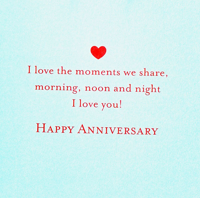 Anniversary Card - Dressing Gowns for him and her - inscription inside