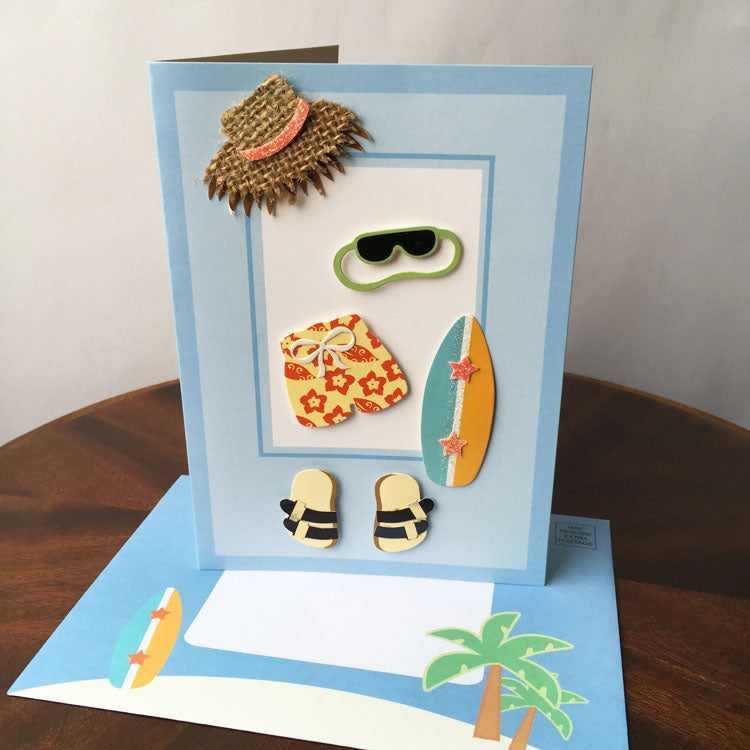 Birthday Card - Beach - card and matching envelope 2