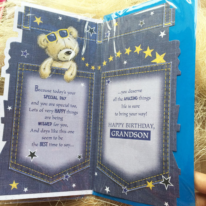 Birthday Card - Brilliant Grandson - inside