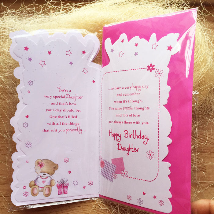 Birthday Card - Daughter Princess - inside of the card and matching envelope