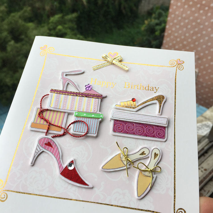 Birthday Card - New Shoes - close up