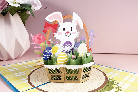 Easter bunny pop up card - angle view