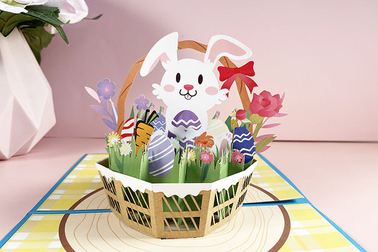 Easter bunny pop up card - front view