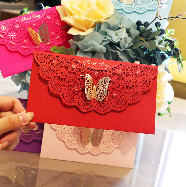 Lace-themed decorative envelope in various colours1