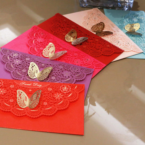 Lace-themed decorative envelope in various colours4