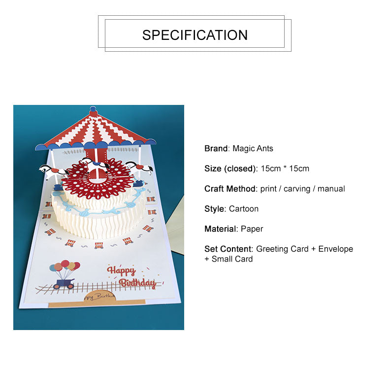 Popup birthday greeting card - carousel birthday cake - product spec