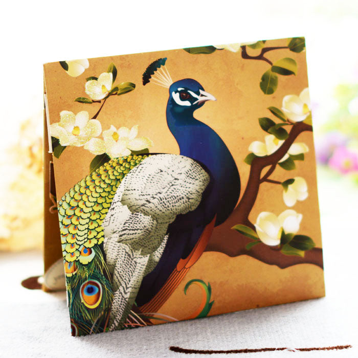 Peacock pop up card - front