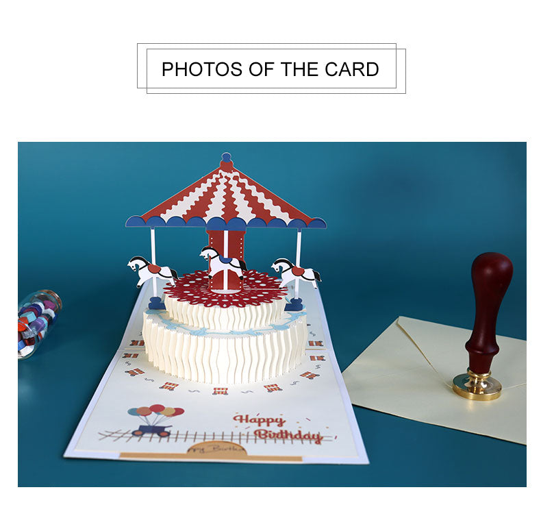 Popup birthday greeting card - carousel birthday cake - what's in the box