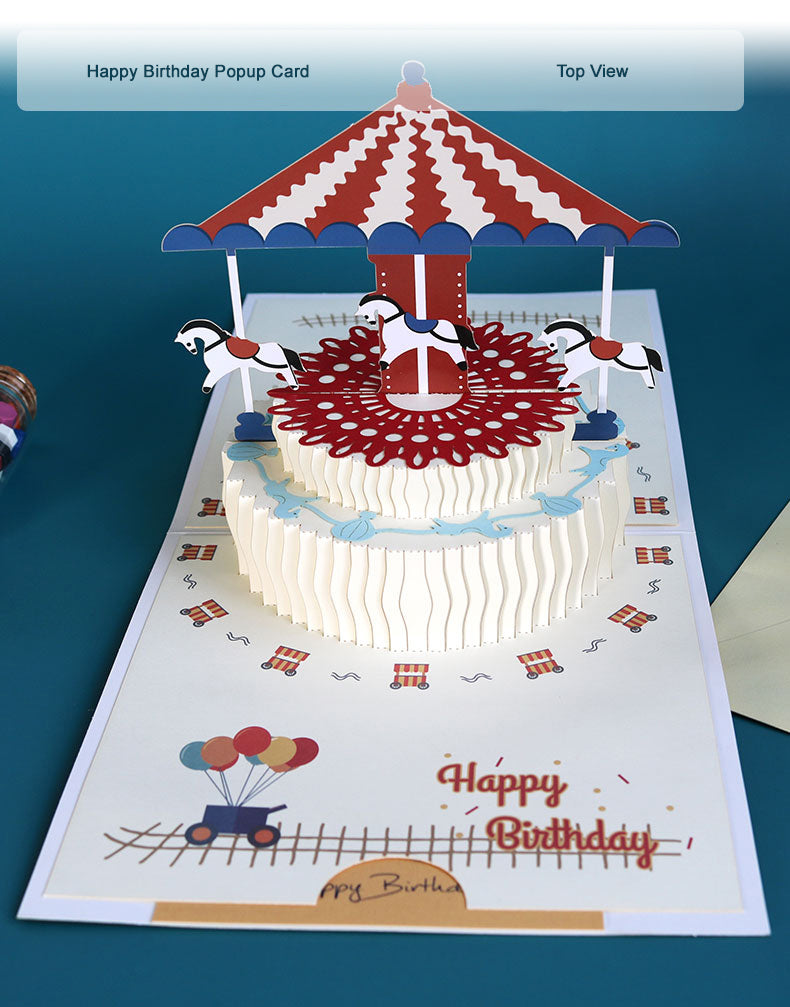 Popup birthday greeting card - carousel birthday cake - top view